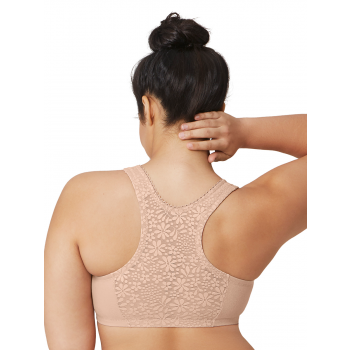 Glamorise Bra 1908 - Off Duty Front Close T-Back Comfort Bra - Beige