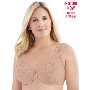 GLAMORISE BRA 9245 - ALLOVER LACE FRONT-CLOSE UNDERWIRE BRA - CAFE