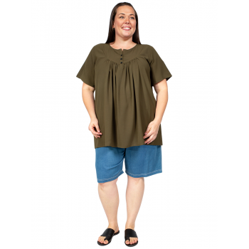 KIMBERLY BIB TOP - OLIVE
