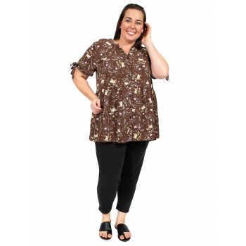 Georgia May Baby Doll Top - Brown