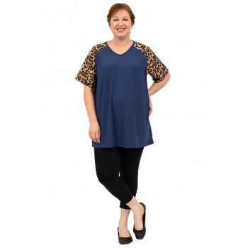 Leopard Sleeve Top - Navy