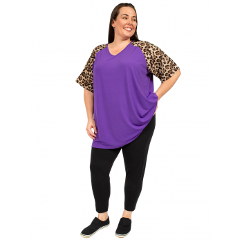 Leopard Sleeve Top - Purple