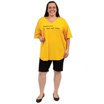 Happiness Is The New Rich Vneck Tee- Yellow