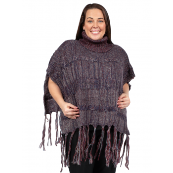 Turtleneck Poncho - BROWN & RED