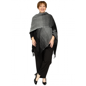 U Shape Poncho Two Tone - BLACK