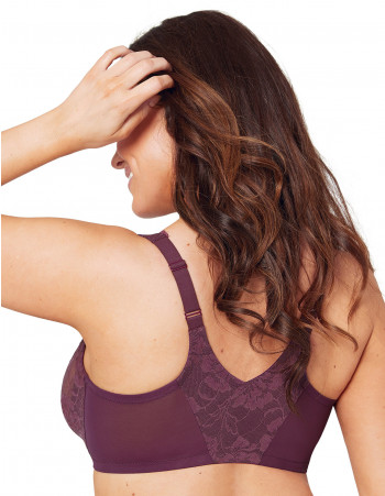 FEELING LACEY FRONT CLOSE UNDERWIRE BRA - PLUM