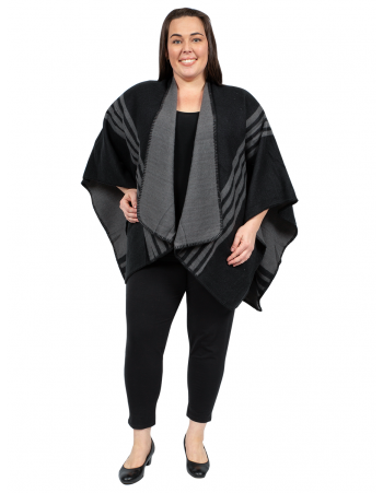 U Shape Poncho with Lines - BLACK & GREY