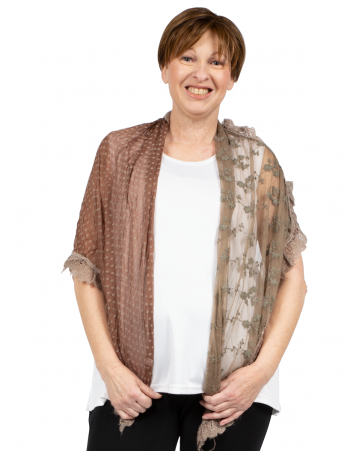 Knitted Fashion Lace Scarf - Brown