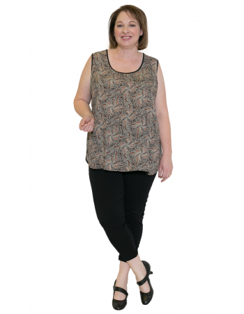 Plus Size Woman Casual Cami State Fair Round Neck Top