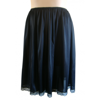 Tricot Knee Length Slip - Black