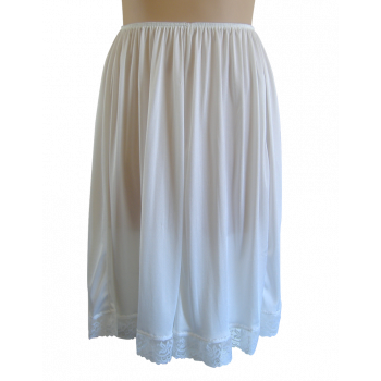 Tricot Knee Length Slip - White