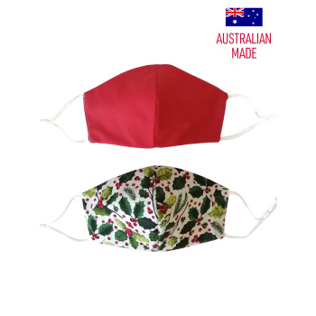 CHRISTMAS HOLLY - PRINT (RED REVERSIBLE)