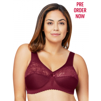 Glamorise Bra 1000 - Feel the Magic Wire-Free Support - BURGUNDY