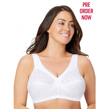 Glamorise Bra 1001 - Everyday Magic Cotton Support Bra - WHITE