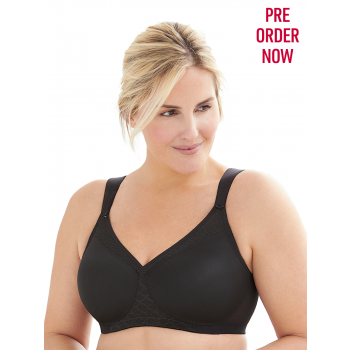 Glamorise Bra 1080 - Everyday Seamless Support T-Shirt Bra - BLACK