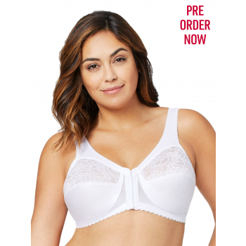 Glamorise Bra 1200 - The Front Close Wire-Free Support - WHITE