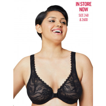 GLAMORISE BRA 9245 - ALLOVER LACE FRONT-CLOSE UNDERWIRE BRA - BLACK