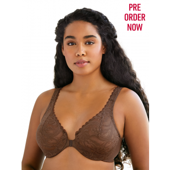 GLAMORISE BRA 9245 - ALLOVER LACE FRONT-CLOSE UNDERWIRE BRA - MOCHA