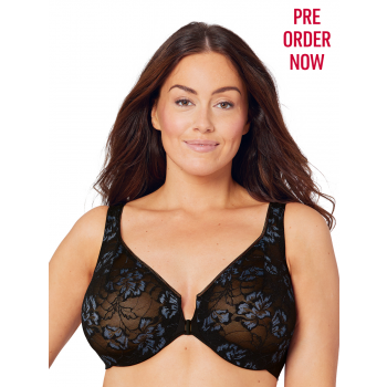 GLAMORISE BRA 9246 - FEELING LACEY FRONT CLOSE UNDERWIRE BRA - BLACK