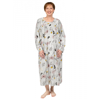 Sweet Lily Nightie Long Sleeves - CREAM GREY
