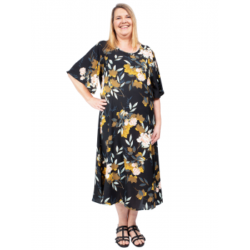 Less Than Zero Dress - Navy Print