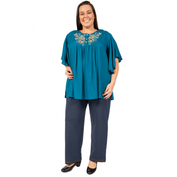 SUMMER NIGHTS EMBROIDERED TOP - TEAL