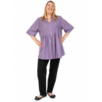 LOOK AT US PLEATED TOP - PLUM