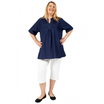 NOBODY BUT ME PLEATED TOP - NAVY