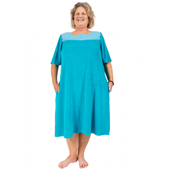 DREAMLAND TERRY DRESS WITH SLEEVES - TEAL