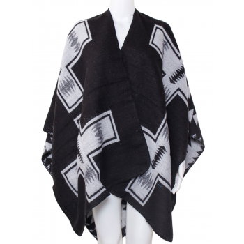 U Shape CrossPrint Poncho - BLACK & WHITE