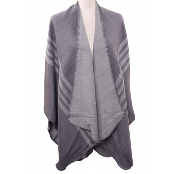 U Shape Poncho with Lines - GREY