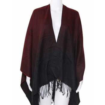 U Shape Poncho Two Tone - BURGUNDY