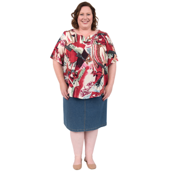 Galaxy Pleated Top - Printed