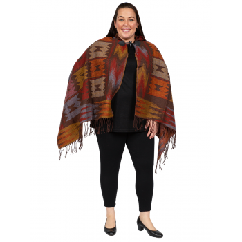 Claw Clasp Hoodie Poncho - Red