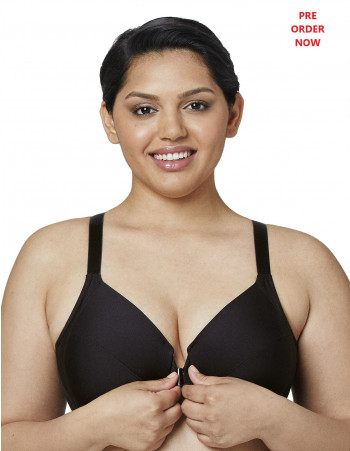 FRONT CLOSE SMOOTHING UNDERWIRE BRA - BLACK