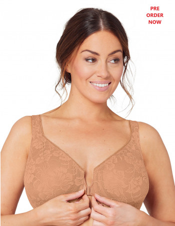 GLAMORISE BRA 9246 - FEELING LACEY FRONT CLOSE UNDERWIRE BRA - COFFEE