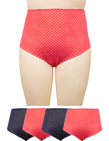 Polka Dot Cotton Spandex Full Briefs 4PKT