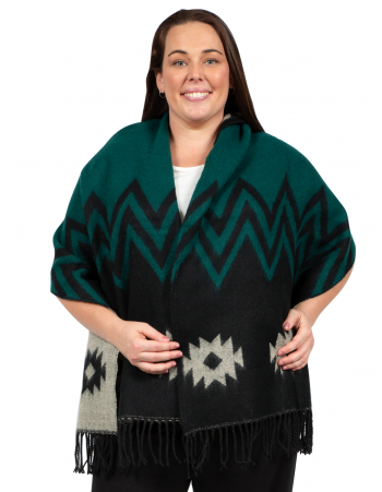 Hoodie Poncho Shawl with Tassels - Green