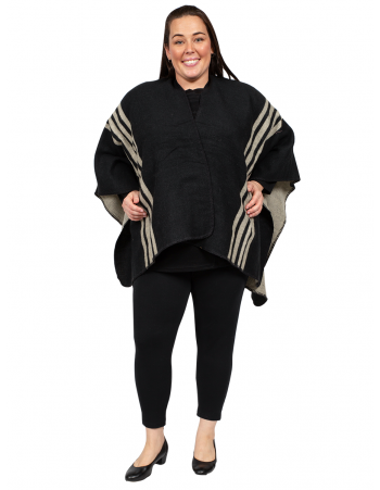 U Shape Poncho with Lines - BLACK & BEIGE