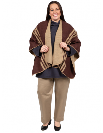 U Shape Poncho with Lines - COFFEE