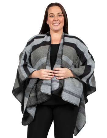 U Shape Poncho with Stripe - BLACK