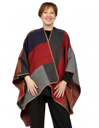 U Shape Square Print Poncho - RED