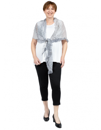 Knitted Fashion Lace Scarf - Grey